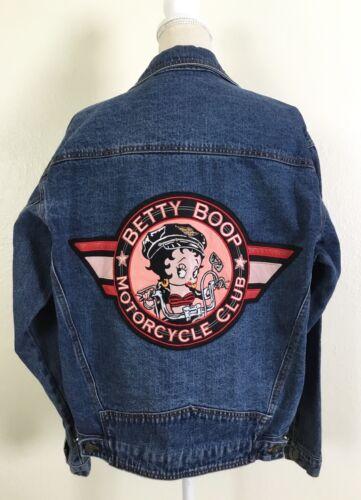 Vintage American Toons Denim Betty Boop Motorcycle Club Jean Jacket Size M