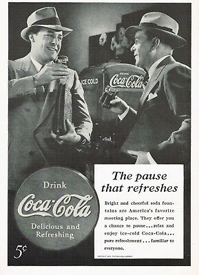 1930s Original Vintage Coca Cola Men At Soda Fountain Fashion Photo Print Ad