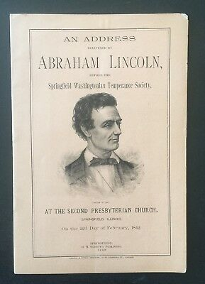 ABRAHAM LINCOLN's 1842 TEMPERANCE ADDRESS - RARE BOOKLET BY O. H. OLDROYD 1889