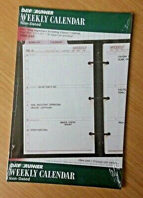 Day Runner Non-Dated Weekly Calendar 30 pages for 3 Ring Organizers 5½