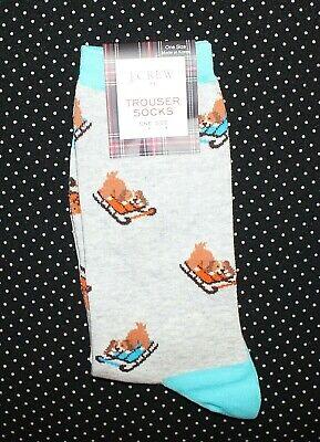 J. Crew Women's Trouser Socks Christmas Sledding Dogs Gray CHB4
