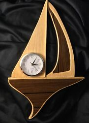 Vintage Large Solid Wood Sailboat Wall Clock.  Attic Find Works Great!