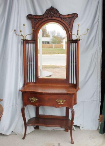 Fancy Victorian Antique Oak Hall Tree – original finish -Mirror - Coat Hooks