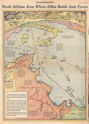 1942 Owens and Minneapolis Morning Tribune Map of Tunisia