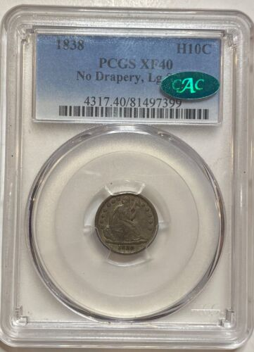 1838 Seated Liberty Silver Half Dime H10C PCGS XF40 No Drapery Large Stars CAC