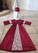 Costume: Medieval Princess Burgundy/ Veiled Hat Child 8  - NEW Greenwood Joondalup Area Preview
