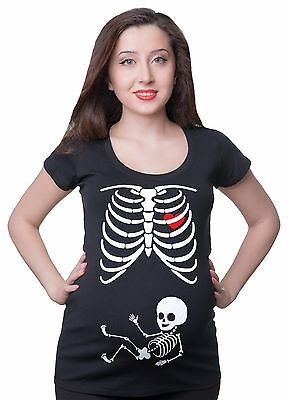 Pregnancy Halloween T-shirt Skeleton Funny Costume  Maternity T-shirt ](Maternity Skeleton Halloween Costume)