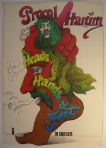 PROCOL HARUM CONCERT TOUR POSTER 1971 KIESER AUTOGRAPHED BY ROBIN TROWER