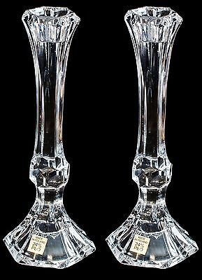 Pair of Crystal Glass Candlesticks 24% Lead Crystal Candle Holder, 22cm Tall