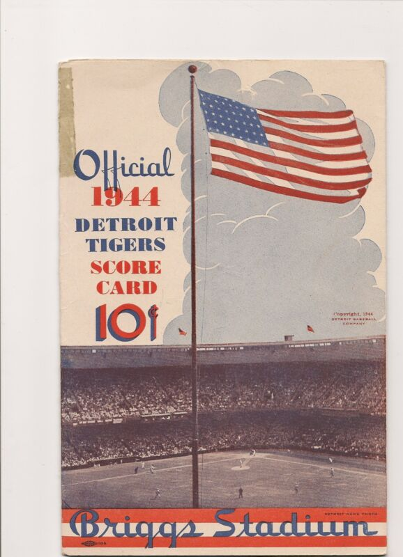 1944 Detroit Tigers-A's Program/Scorecard Athletics Pummel Tigers + Ticket Env!!