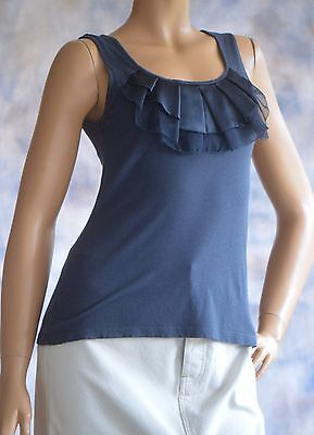 ANN TAYLOR LOFT Sz XS Knit Top Blouse Scoop Neckline w/ Ruffles Navy Blue Cotton