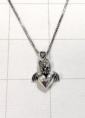 Angel Solid Sterling Silver Necklace - 925 Sterling Silver Angel Heart Wing Crown Claddagh Pendant 20