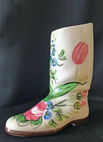 Royal Copley Boot Planter Floral Decoration Vintage