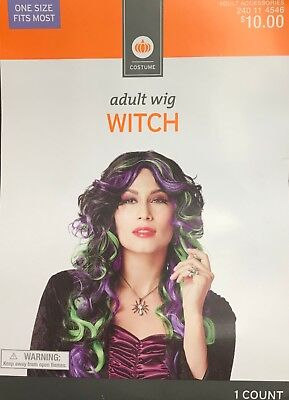Green Costume Wigs (Womens Adult Halloween Costume Wig Witch Black with Green Purple)