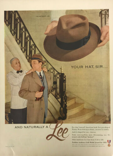 Lee Hats Butler Men Magazine Print Ad Vintage Accessories Fashion Original 1951