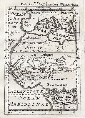 1685 West Africa Pays Des Negres 17th Century Engraved Map Mallet
