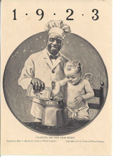 1923,STARTING THE NEW YEAR RIGHT,BY EDW. V. BREWER FOR CREAM OF WHEAT CO.