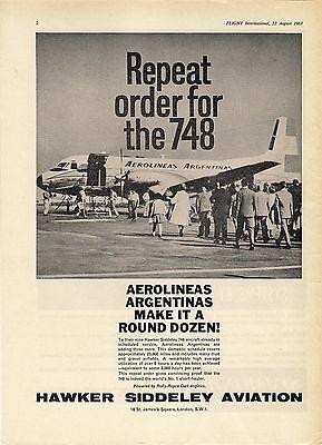 Old Magazine Advert ~ Hawker Siddeley Aviation 748 - Aerolineas Argentinas: 1963