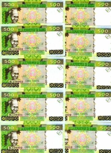 Lot, Guinea, 10 x 500 francs, 2017, P-47, UNC > New Signature
