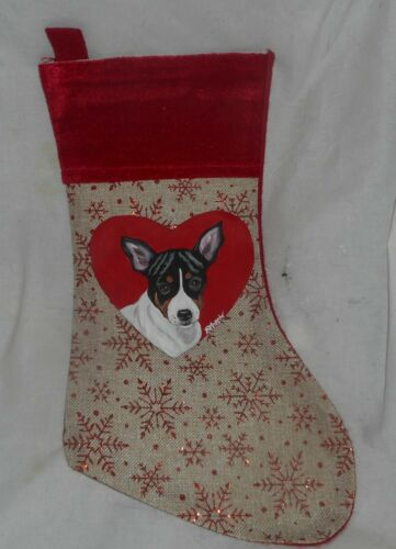 Rat Terrier Dog Hand Painted Christmas Gift Stocking Holiday Decoration