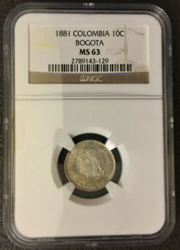 NGC MS 63 * 1881 Colombia 10 Centavos * Goddess Bogota (Low 2o,ooO Mintage)