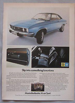 1973 Opel Manta Berlinetta Original advert No.1