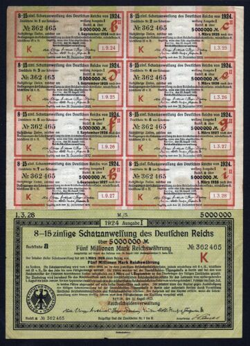 1923 Berlin Germany: 5000000 Mark (5 Million Mark) Treasury Bond Schatzanweisung