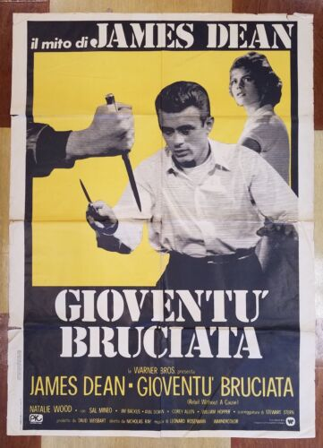 "Antique Movie Poster ""Rebel Without a Cause"" in Italian circa 1955"