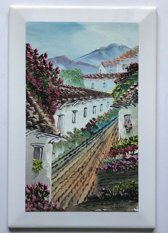 BEAUTIFUL HANDPAINTED LAMOSA MEXICO TILE SIGNED A LOPEZ '97 VILLAGE FLOWERS