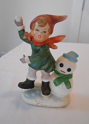 Vintage Kelvins Exclusives Japan Figurine Holiday Winter Boy Snowman Snowball