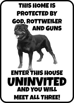 #341 ROTTWEILER ENTER UNINVITED AND MEET GOD PET DOG GATE FENCE SIGN Aluminum Dog Fence