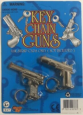 Vintage Mini Cap Guns, Diecast Keychain Cap Gun Pistol, New on Card