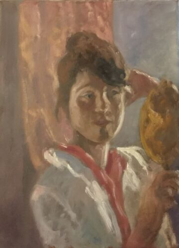 Woman With Mirror Copy After P.S. Kroyer Original Oil Daily Painting - $45.00