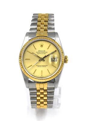 VINTAGE GENTS ROLEX DATEJUST 16233 WRISTWATCH STAINLESS STEEL 18K GOLD BOX c1988