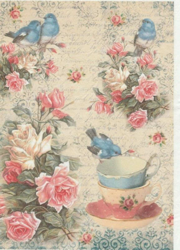 Rice Paper for Decoupage Scrapbook Craft Sheet Afternoon Tea
