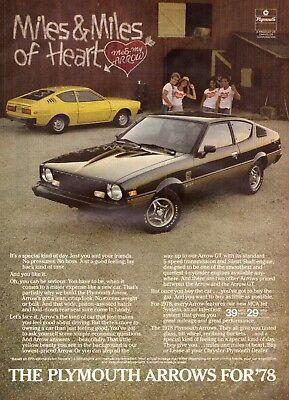 1978 Chrysler Plymouth Arrow Me  & My Arrow Harry Nilsson Vintage Print Ad 1970s ()