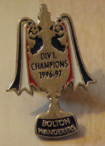 BOLTON-WANDERERS-1996-97-1st-DIVISION-CHAMPIONS-Badge-Stud-fitting-21mm-x-31mm