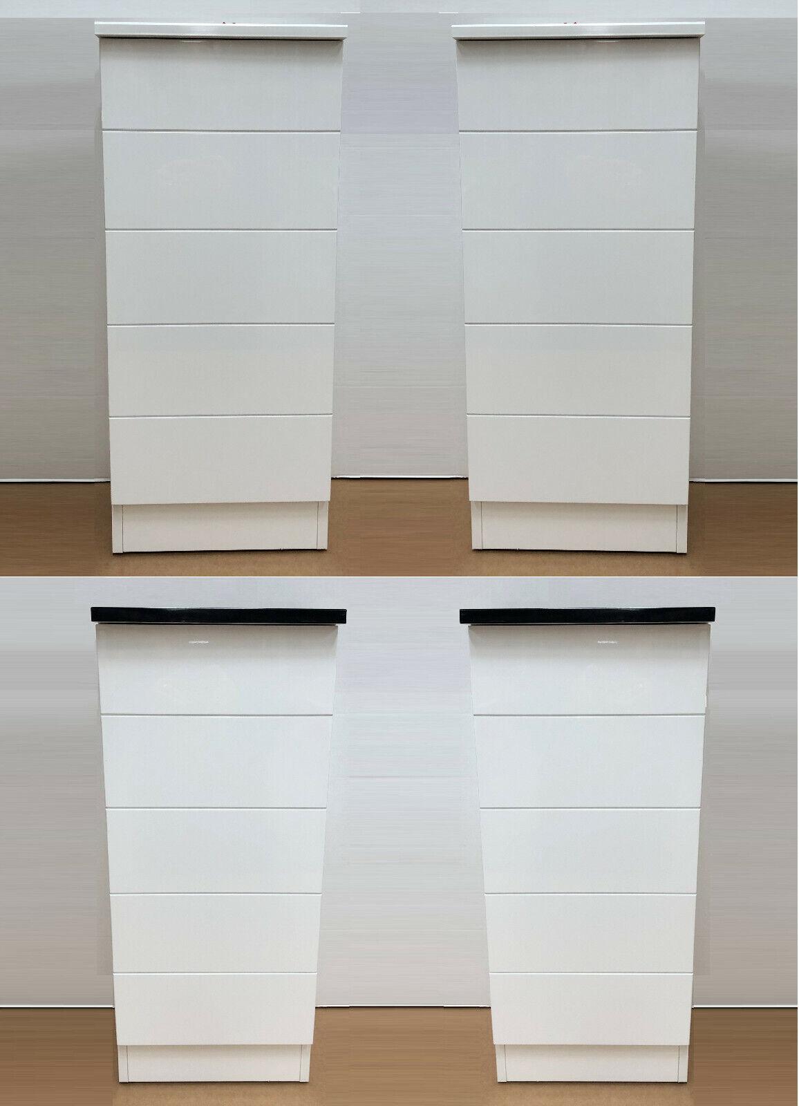 Cg Paire Moderne Chambre A Coucher Blanc Compact Noir Slim De