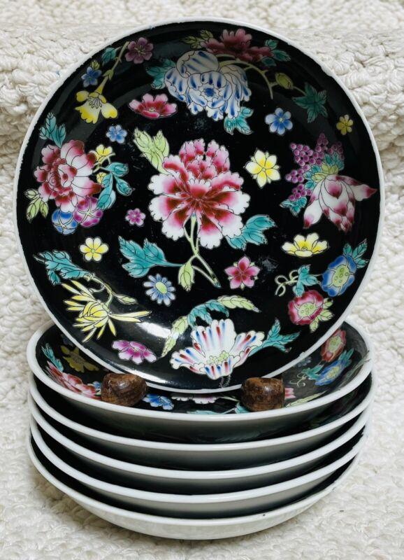 "Zhongguo Jingdezhen China Famille Noir SIX 5 3/4"" Bowls Black Floral #1"