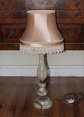 Vintage Large Onyx Lamp with Peach Lampshade