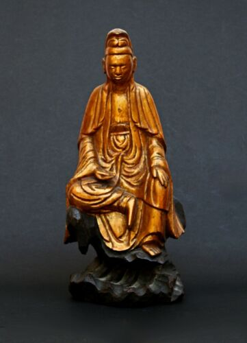 ANTIQUE GUANYIN VIETNAMESE GILT WOOD goddess of mercy Vietnam bleu de hue