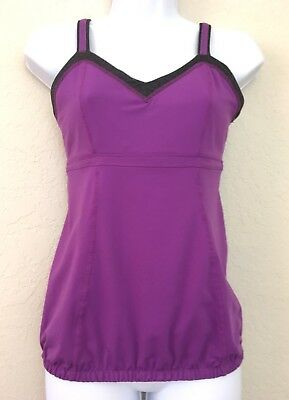 Kyodan Women's Ruched Back Yoga Exercise Shelf Bra Tank Top Purple P/S Small