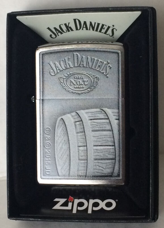Zippo Brushed Chrome Lighter With Jack Daniels Barrel and Logo 46827 New In Box
