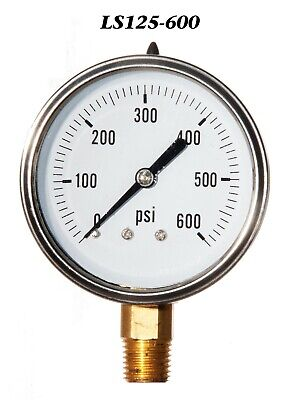 New Hydraulic Liquid Filled Pressure Gauge 0-600 Psi 2.5 Face 14 Lm