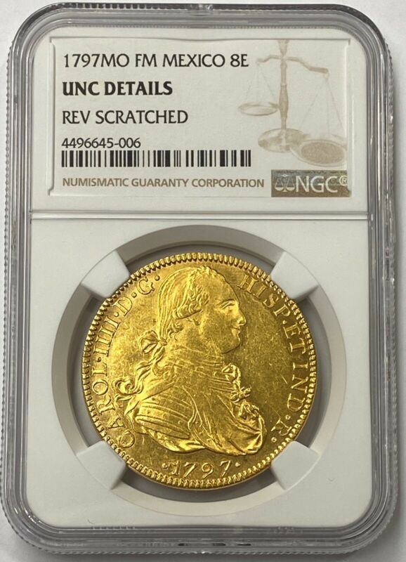 Mexico Charles III 1797 MO-FM Gold 8 Escudos NGC Choice UNC Mexico City Mint