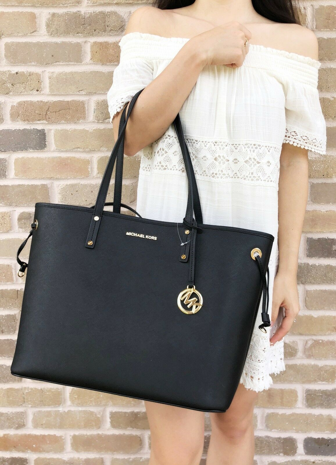 Michael Kors Jet Set Travel Large Drawstring Tote With Pouch BlackSolid