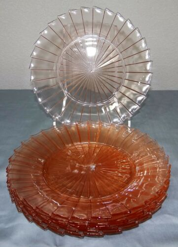 "Set of 6 Vtg Pink Jeannette Depression Glass SIERRA PINWHEEL 9"" Dinner Plates"