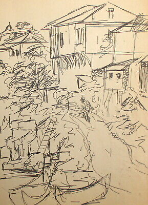Vintage expressionist ink painting cityscape for sale  Shipping to Canada