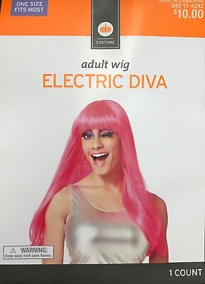 Womens Adult Halloween Costume Wig Electric Diva Hot Pink Long Straight Bangs