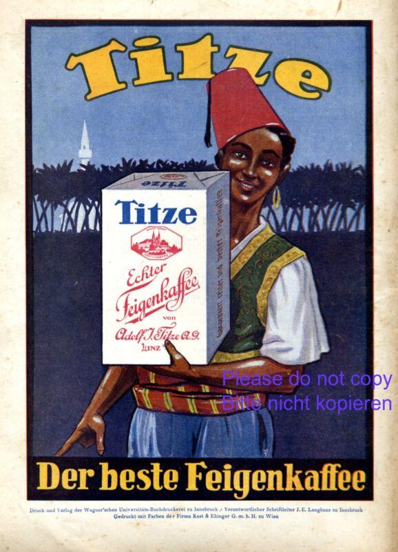 Fig coffee Titze Linz Austria 1927 ad 1001 nights fes boy advertising orient